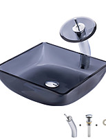 cheap -Bathroom Sink / Bathroom Mounting Ring / Bathroom Water Drain Contemporary - Tempered Glass Square