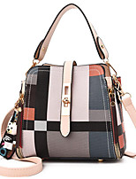 cheap -Women's Polyester / PU Top Handle Bag Geometric Pattern Red / White / Brown
