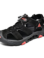 cheap -Men's Summer Casual Outdoor Beach Sandals Water Shoes / Upstream Shoes Leather Breathable Non-slipping Shock Absorbing Light Brown / Black