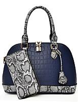 cheap -Women's Zipper PU Bag Set Solid Color 2 Pieces Purse Set Black / Blue / Red