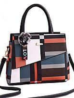 cheap -Women's Polyester / PU Top Handle Bag Geometric Pattern Black / Brown / Wine