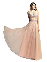 cheap -A-Line Glittering Sexy Prom Formal Evening Dress Sweetheart Neckline Sleeveless Floor Length Tulle with Crystals 2020