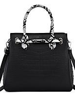 cheap -Women's Zipper PU Top Handle Bag Color Block Black / Brown / Red / Snakeskin