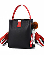 cheap -Women's Pom-pom Polyester / PU Top Handle Bag Solid Color Black / Wine / Blushing Pink