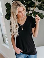 abordables -Tee-shirt Femme, Couleur Pleine Chic de Rue Noir