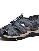 cheap -Men's Fall / Spring & Summer Casual Daily Outdoor Sandals Nappa Leather Breathable Non-slipping Shock Absorbing Black / Blue / Brown Color Block