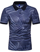 cheap -Men's Daily Weekend Boho / Street chic Polo - Striped / Geometric / Plaid Black