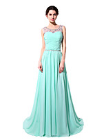 cheap -A-Line Elegant Beautiful Back Wedding Guest Formal Evening Dress Illusion Neck Sleeveless Court Train Chiffon with Sash / Ribbon Ruched Beading 2020