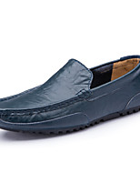 cheap -Men's Summer / Fall Casual / British Daily Outdoor Loafers & Slip-Ons Walking Shoes Leather / Nappa Leather Breathable Non-slipping Wear Proof Dark Brown / Black / Blue
