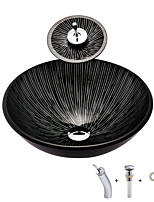 cheap -Bathroom Sink / Bathroom Mounting Ring / Bathroom Water Drain Contemporary - Tempered Glass Round