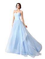 cheap -A-Line Beautiful Back Minimalist Engagement Formal Evening Dress Sweetheart Neckline Sleeveless Court Train Tulle with Ruched 2020