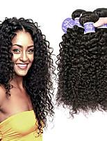 Недорогие -3 Связки Малазийские волосы Kinky Curly Необработанные натуральные волосы 100% Remy Hair Weave Bundles Человека ткет Волосы Удлинитель Пучок волос 8-28 дюймовый Нейтральный Черный