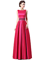 cheap -A-Line Elegant Minimalist Engagement Formal Evening Dress Boat Neck Sleeveless Floor Length Satin with Sash / Ribbon Sequin 2020