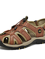cheap -Men's Fall / Spring & Summer Casual Daily Outdoor Sandals Nappa Leather Breathable Non-slipping Shock Absorbing Black / Blue / Brown