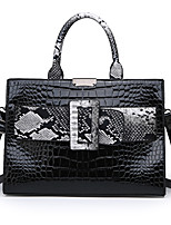cheap -Women's Zipper PU Top Handle Bag Color Block Black / Brown / Purple / Snakeskin