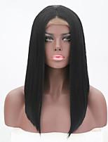 Недорогие -Парики из натуральных волос на кружевной основе Естественные прямые Стиль Средняя часть Лента спереди Парик Черный Черный Искусственные волосы 26 дюймовый Жен. Женский Черный Парик Длинные