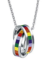 cheap -Pendant Necklace Necklace Rainbow Steel Stainless For LGBT Pride Cosplay Men's Costume Jewelry Fashion Jewelry