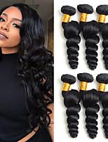 Недорогие -6 Связок Перуанские волосы Свободные волны Необработанные натуральные волосы 100% Remy Hair Weave Bundles Человека ткет Волосы Удлинитель Пучок волос 8-28 дюймовый Естественный цвет / Без запаха