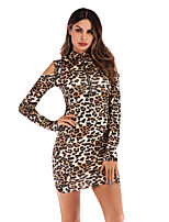 cheap -Women's Party Club Sheath Dress - Leopard Basic Beige Khaki S M L XL