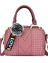 Недорогие -Жен. С кисточками / Рельефный PU Сумка с верхней ручкой Сплошной цвет Черный / Розовый / Синий