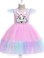 cheap -Unicorn Dress Flower Girl Dress Girls' Movie Cosplay A-Line Slip Cosplay Pink / Light Blue Dress Halloween Carnival Masquerade Tulle Polyester