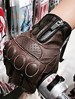 Недорогие -ретро коричневые байкерские кожаные перчатки мотоциклетные теплые перчатки полупальцевые перчатки