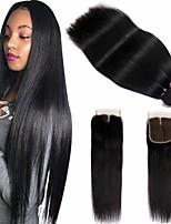 Недорогие -3 комплекта с закрытием Бразильские волосы Прямой 100% Remy Hair Weave Bundles Человека ткет Волосы Пучок волос One Pack Solution 8-20 дюймовый Естественный цвет Ткет человеческих волос / Без запаха