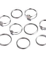Недорогие -Жен. Цирконий Ring Set европейский Модные кольца Бижутерия Серебряный Назначение Свадьба 9pcs