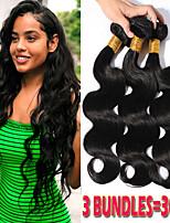 Недорогие -3 Связки Бразильские волосы Естественные кудри Не подвергавшиеся окрашиванию Wig Accessories Человека ткет Волосы Пучок волос 8-28 дюймовый Естественный цвет Ткет человеческих волос / Без запаха