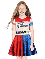 cheap -Harley Quinn Dress Girls' Movie Cosplay Cosplay Red / Blue Dress Halloween Carnival Masquerade Polyester