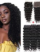 Недорогие -3 комплекта с закрытием Бразильские волосы Крупные кудри 100% Remy Hair Weave Bundles Человека ткет Волосы Удлинитель Пучок волос 8-20 дюймовый Естественный цвет Ткет человеческих волос / Без запаха