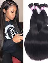 Недорогие -4 Связки Бразильские волосы Прямой 100% Remy Hair Weave Bundles Человека ткет Волосы Пучок волос Накладки из натуральных волос 8-28 дюймовый Естественный цвет Ткет человеческих волос / Без запаха