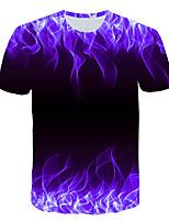 cheap -Kids Boys' Basic Street chic Color Block 3D Rainbow Print Short Sleeve Tee Purple