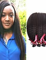 Недорогие -6 Связок Бразильские волосы Естественные прямые Не подвергавшиеся окрашиванию Человека ткет Волосы Пучок волос One Pack Solution 8-28 дюймовый Естественный цвет Ткет человеческих волос / Без запаха