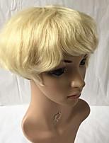 Недорогие -Человеческие волосы без парики Натуральные волосы Кудрявый Боковая часть Женский / Молодежный Блондинка Машинное плетение Парик Перуанские волосы