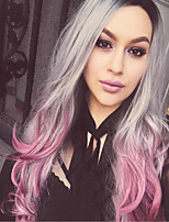 abordables -Perruque Synthétique Bouclé Coupe Asymétrique Perruque Long Violet / Gris Cheveux Synthétiques 27 pouce Femme Meilleure qualité Gris foncé Violet