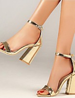 cheap -Women's Sandals Chunky Heel Open Toe Buckle PU Business / Casual Spring &  Fall / Spring & Summer Gold / Silver / Party & Evening