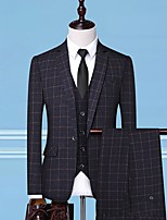 cheap -Tuxedos Standard Fit Notch Single Breasted One-button Polyester Checkered / Gingham