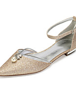 cheap -Women's Wedding Shoes Flat Heel Pointed Toe Classic Sweet Wedding Party & Evening Gleit Rhinestone Pearl Sequin Solid Colored Black Champagne Ivory