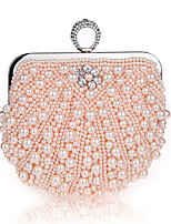 cheap -Women's Crystals / Pearls Polyester Evening Bag Solid Color Black / Champagne / Beige