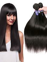Недорогие -3 Связки Перуанские волосы Прямой Не подвергавшиеся окрашиванию человеческие волосы Remy Человека ткет Волосы Удлинитель Пучок волос 8-28 дюймовый Естественный цвет Ткет человеческих волос