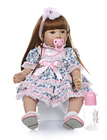 cheap -NPKCOLLECTION Reborn Doll Baby Girl 24 inch lifelike Cute Artificial Implantation Brown Eyes Kid's Unisex Toy Gift