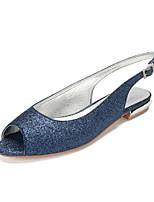 cheap -Women's Wedding Shoes Flat Heel Peep Toe Classic Sweet Wedding Party & Evening Gleit Sequin Black Champagne Ivory