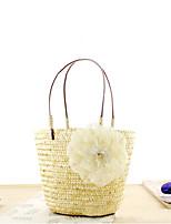 cheap -Women's Flower Straw Top Handle Bag Solid Color Yellow / Fuchsia / Orange