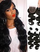Недорогие -3 комплекта с закрытием Бразильские волосы Естественные кудри 100% Remy Hair Weave Bundles Человека ткет Волосы Пучок волос One Pack Solution 8-20 дюймовый Естественный цвет Ткет человеческих волос