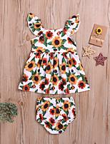 cheap -Baby Girls' Active Basic Sun Flower Floral Print Print Sleeveless Regular Regular Clothing Set White
