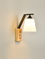 cheap -1 Light Wall Lamps & Sconces Wooden Wall Lights with Glass Shade and ON/OFF Switch for Living Room / Bedroom Dimmable