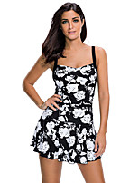cheap -Women's One Piece Swimsuit Elastane Swimwear Breathable Quick Dry Sleeveless Swimming Water Sports Floral / Botanical Summer / High Elasticity
