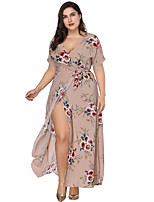 cheap -Women's Boho Sheath Swing Dress - Maxi Floral Split Print Khaki XL XXL XXXL XXXXL