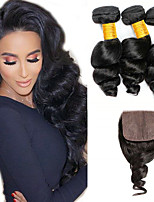 Недорогие -3 комплекта с закрытием Бразильские волосы Свободные волны Не подвергавшиеся окрашиванию Человека ткет Волосы Пучок волос One Pack Solution 8-20 дюймовый Естественный цвет Ткет человеческих волос